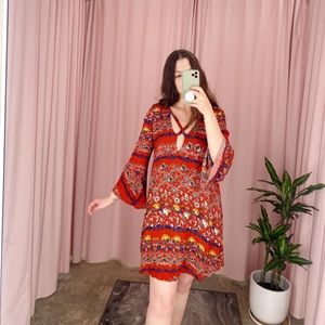 Lush Red and Floral Bell Sleeve Boho Shift Dress